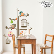 Colourful Tree and Bird Wall Stickers 1006