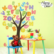 Alphabet and numbers tree wall sticker