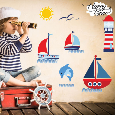 Sail boat wall sticker