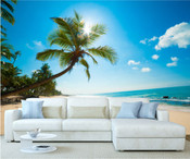 Caribbean Tropical Palm Trees Beach Wall Mural