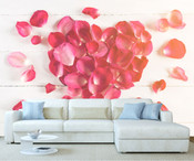 Heart Shaped Rose Flower Petals Wall Mural