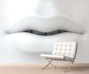 Contemporary White Lip Art Wall Mural