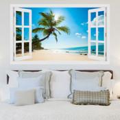 Caribbean Palm Trees Beach 3D Wall Sticker 5301-1001