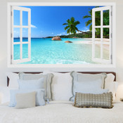 Tropical Sky Blue Beach 3D Wall Sticker 5301-1007