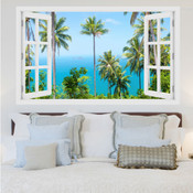 Tall Palm Trees Ocean View 3D Wall Sticker 5301-1016