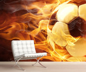 Football With Fire Wall Mural