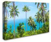Tall Palm Trees Ocean View Wall Art Canvas 8998-1016