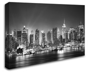 New York City Manhattan Skyline View Wall Art Canvas B/W 8998-1046
