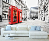 London City Telephone Box Wall Mural