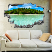 3D Broken Wall Beach Wall Stickers 5302-1003