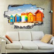 3D Broken Wall Beach Wall Stickers 5302-1005