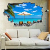 3D Broken Wall Beach Wall Stickers 5302-1006