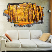 3D Broken Wall Autumn Tree Wall Stickers 5302-1019
