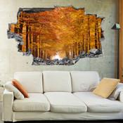 3D Broken Wall Autumn Tree Wall Stickers 5302-1022