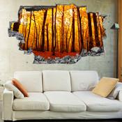 3D Broken Wall Autumn Tree Wall Stickers 5302-1023