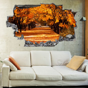 3D Broken Wall Autumn Tree Wall Stickers 5302-1024