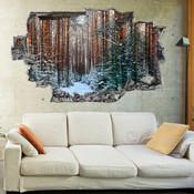 3D Broken Wall Autumn Tree Wall Stickers 5302-1030