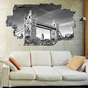 3D Broken Wall London Tower Bridge Wall Stickers 5302-1037