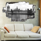 3D Broken Wall Palace of Westminster Wall Stickers 5302-1040
