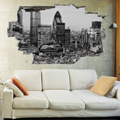 3D Broken Wall London Wall Stickers 5302-1041