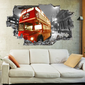 3D Broken Wall London Red Bus Wall Stickers 5302-1042