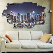 3D Broken Wall New York Wall Stickers 5302-1047