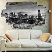 3D Broken Wall Brooklyn Bridge Wall Stickers 5302-1049