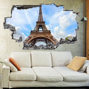 3D Broken Wall Eiffel Tower Wall Stickers 5302-1050