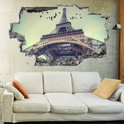 3D Broken Wall Eiffel Tower Wall Stickers 5302-1052