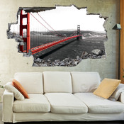 3D Broken Wall Golden Gate Bridge Wall Stickers 5302-1054