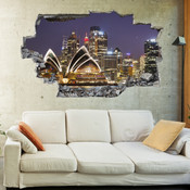 3D Broken Wall Sydney Opera House Wall Stickers 5302-1055
