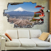 3D Broken Wall Fuji Mountain Wall Stickers 5302-1058