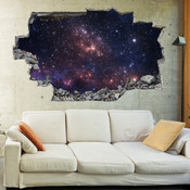 3D Broken Wall Space Galaxy Wall Stickers 5302-1065