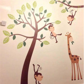 Monkey and Giraffe Jungle Wall Sticker (Small) 70014