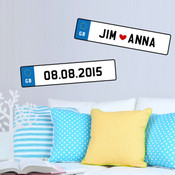 Personalised Number Plate Wall Stickers 9105A