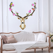 Sika Deer Flower Bird Wall Stickers 9112