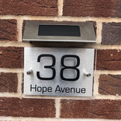 Personalised Metal House Sign with Solar Light