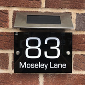 Personalised Rectangle House Sign with Solar Light