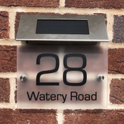 Personalised Frosted House Sign with Solar Light