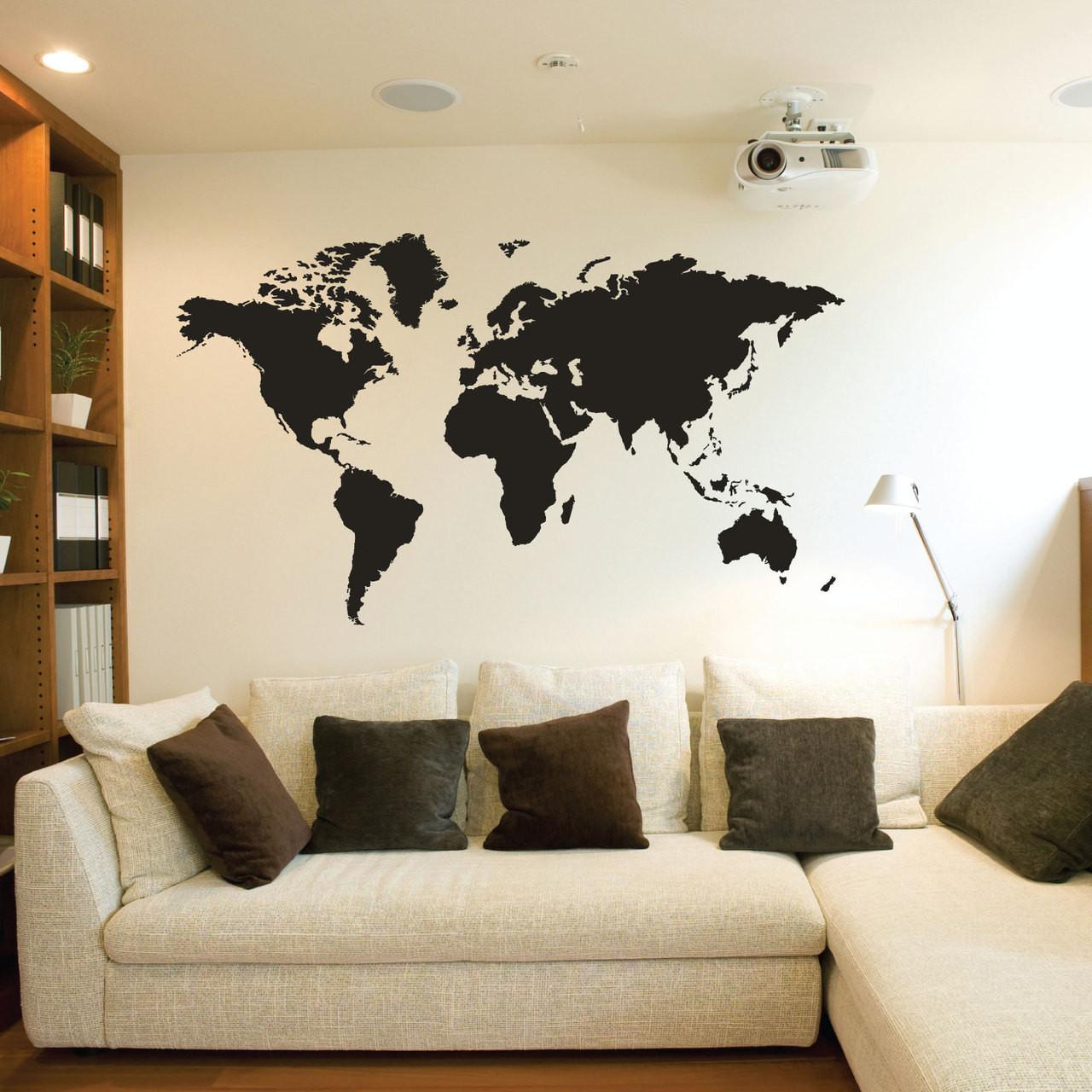 Large World Map Wall Sticker 89407 - Stickers Wall