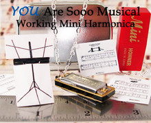 YOU gNeek's YOU Are Sooo Musical Working Mini Harmonica Necklace