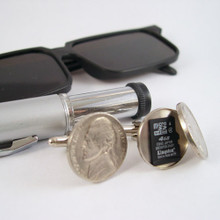 Secret Compartment Nickel Cufflinks can hold a mini SD card