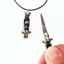 YOU gNeek's YOU Are Sooo Dangerous Switchblade Necklace shown here in the flicked open position and closed (on your necklace) position.