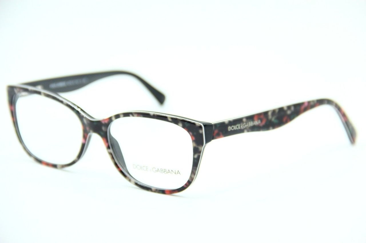 1ac16f7e2b6 Dolce   Gabbana Eyeglasses DG 3136 2778 Black Flowers On Black 55-16-140.  Image 1. Loading zoom