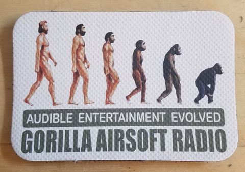 "Audible Entertainment Evolved Gorilla Airsoft Radio Vinyl patch 2 7/8"" x 2"""