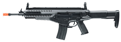The Beretta ARX 160 by Elite Force shoots 360 FPS with full or semi-automatic action, powered by an 8.4 NiMH rechargeable battery (charger included). The nylon fiber body holds a 300 rd drop-free hi-cap magazine for full and semi-auto action. Realistic feel with metal accessory rails and collapsible stock.