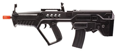 The IWI Tavor Tar 21 by Elite Force includes an 8.4V NiMH rechargeable battery (with charger) for weekend skirmishes. This rifle shoots 345 FPS with metal gears and gear box. The high-strength ABS body holds a metal hi-cap 300 rd magazine for full and semi-auto action.