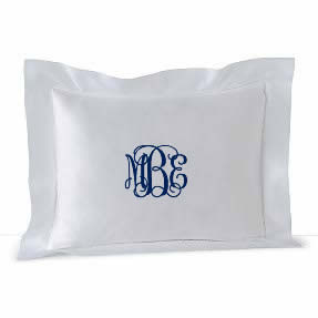 Small Monogrammed Linen Boudoir Baby Pillow Sham White with Navy Interlocking Monogram