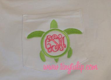 Monogrammed Sea Turtle Long Sleeve TShirt