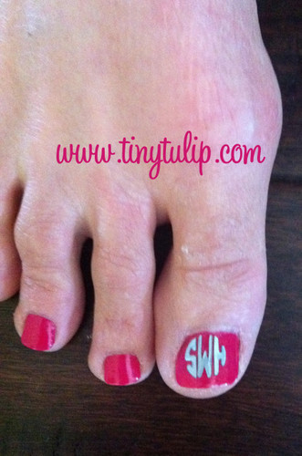 Pedicure Toe Nail Decal Monogram  FREE SHIPPING Silver Font